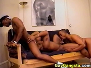 Three horny black male hardcore anal hole fuc