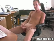 Skinny guy masturbates and dildo fucks himself