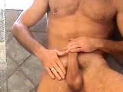 hairy sexy dude jerk off his long cock in the show