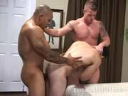 Muscle bound jocks pounding ass with raw cock