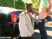 Thug sucks my cock in public parking lot