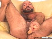 Big and hairy, bearded BEAR works ass w/ toy