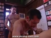 Hardcore Gay Threesome in Private Library