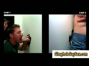 Muscley guy gets a glory hole blowjob