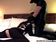 Kinky spandex spanking and dick sucking fun
