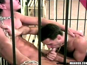 Jail Mates fucking with hot wax