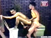 Gay guys having hardcore sex in the alley