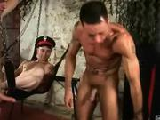Military Threesome on a Sling in Gay Dungeon