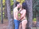 Hot shemale gets nailed hard in the woods
